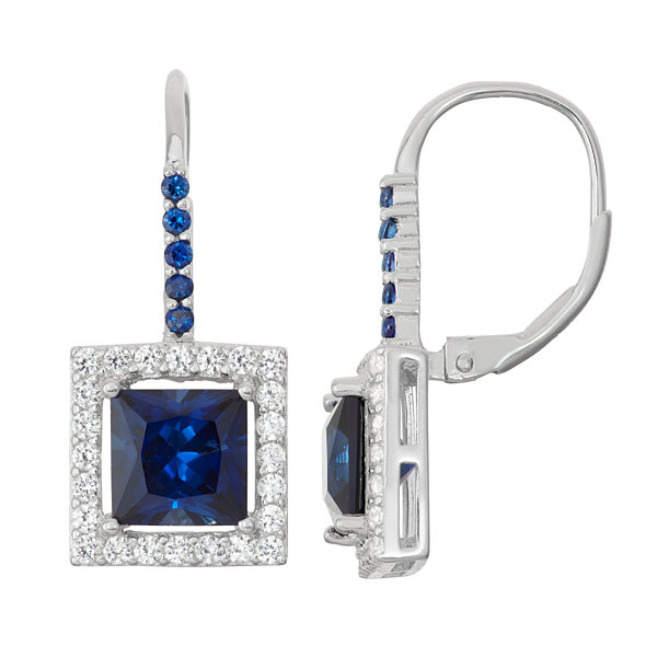 Lab-Created Sapphire & White Sapphire Sterling Silver Leverback Earrings