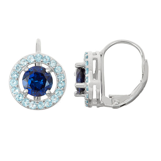 Lab Created Sapphire Genuine Blue Topaz Sterling Silver Leverback Earrings
