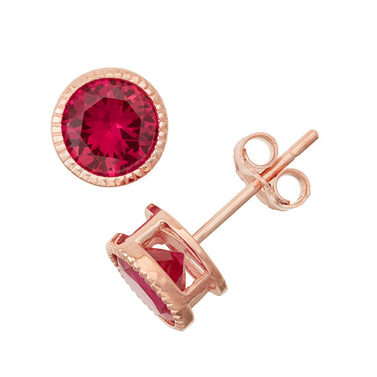 Lab-Created Ruby 14K Rose Gold Over Silver Stud Earrings