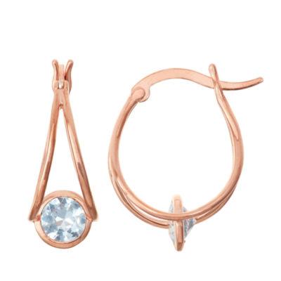 Lab-Created Aquamarine 14K Rose Gold Over Silver Hoop Earrings