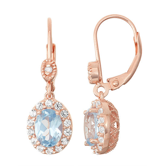 Lab Created Aquamarine White Shire Diamond Accent 14k Rose Gold Over Silver Leverback Earrings