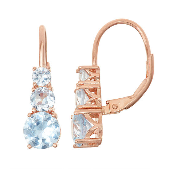 Lab Created Aquamarine 14k Rose Gold Over Silver Leverback Earrings