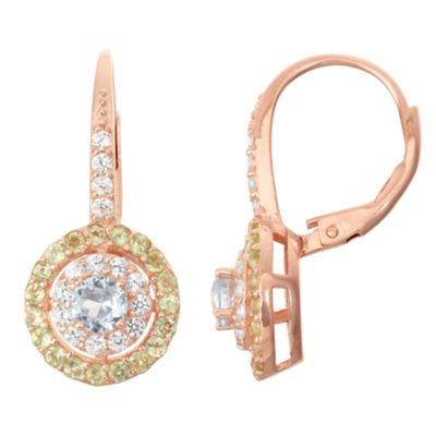 Lab-Created Aquamarine & Genuine Peridot 14K Rose Gold Over Silver Leverback Earrings