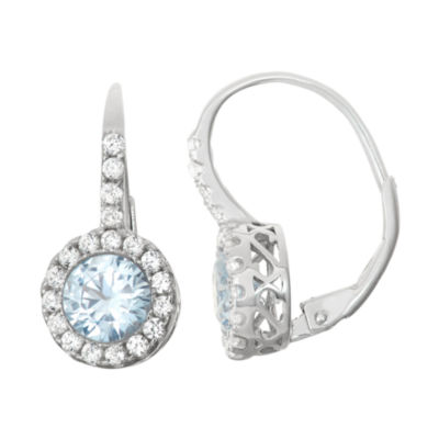 Lab-Created Aquamarine & White Sapphire Sterling Silver Leverback Earrings