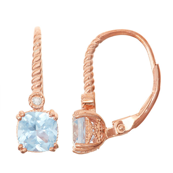Lab-Created Aquamarine & Diamond Accent 14K Rose Gold Over Silver Leverback Earrings