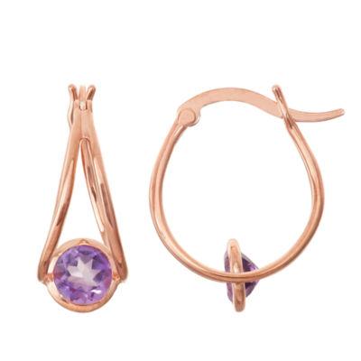 Genuine Amethyst 14K Rose Gold Over Silver Hoop Earrings