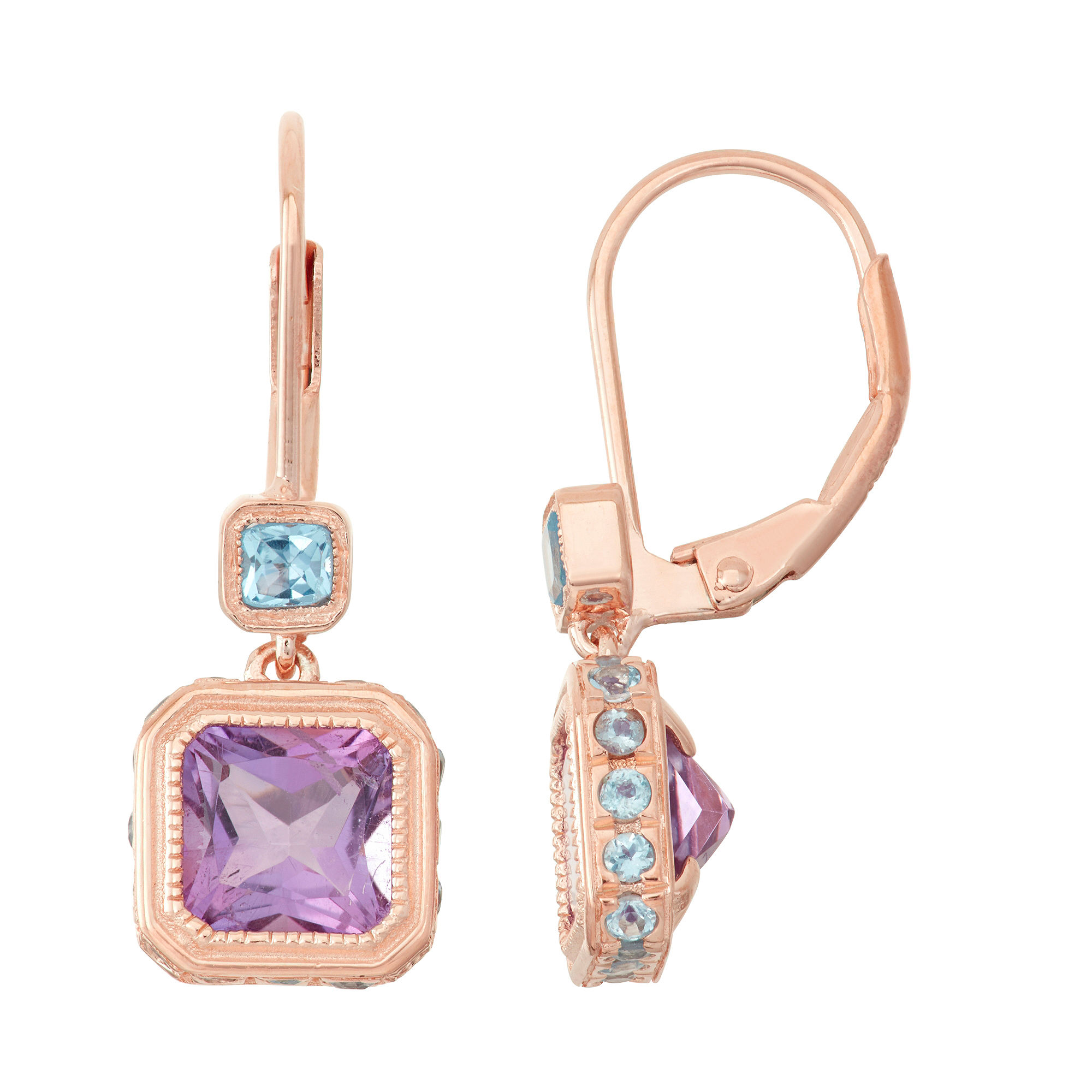 Genuine Amethyst & Blue Topaz 14K Rose Gold Over Silver Leverback Earrings