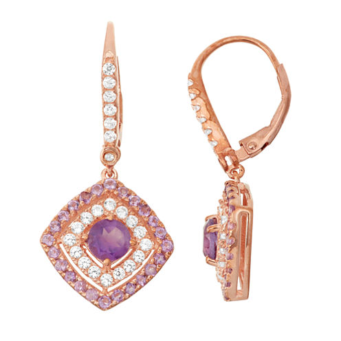 Genuine Amethyst & Lab-Created White Sapphire 14K Rose Gold Over Silver Leverback Earrings