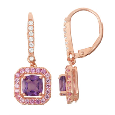 Genuine Amethyst & Lab-Created Pink Sapphire Diamond Accent 14K Rose Gold Over Silver Leverback Earrings