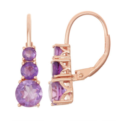 Genuine Amethyst 14K Rose Gold Over Silver Leverback Earrings
