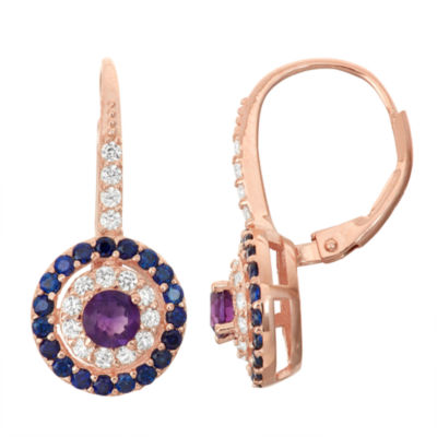 Genuine Amethyst & Lab-Created Sapphire 14K Rose Gold Over Silver Leverback Earrings