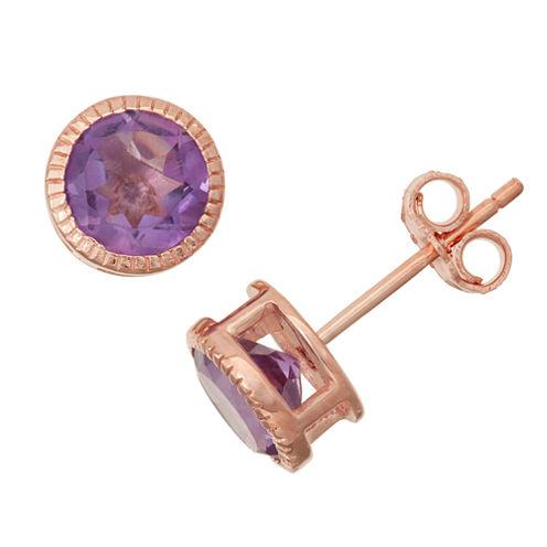 Genuine Amethyst 14K Rose Gold Over Silver Stud Earrings