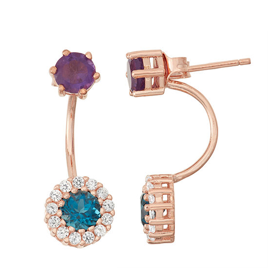Genuine London Blue Topaz & Amethyst 14K Rose Gold Over Silver Front-Back Earrings
