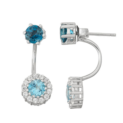 Genuine London Blue Topaz & Lab-Created White Sapphire Sterling Silver Front-Back Earrings