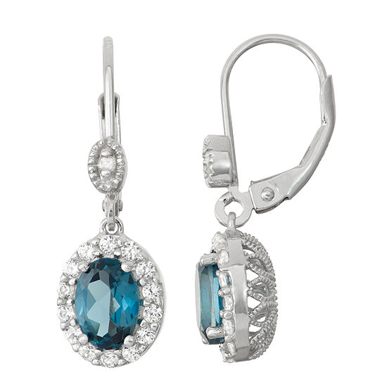 Genuine Blue Topaz Lab Created White Sapphire Sterling Silver Leverback Earrings