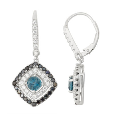 Genuine London Blue Topaz & Black Spinel Sterling Silver Diamond Accent Leverback Earrings