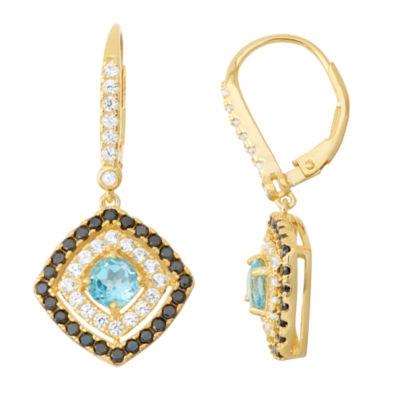 Genuine Blue Topaz & Black Spinel 14K Gold Over Silver Leverback Earrings