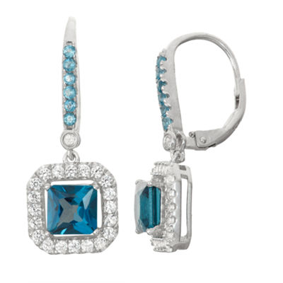Genuine London Blue Topaz & Lab-Created White Sapphire Sterling Silver Leverback Earrings