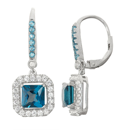 Genuine London Blue Topaz Lab Created White Sapphire Sterling Silver Leverback Earrings