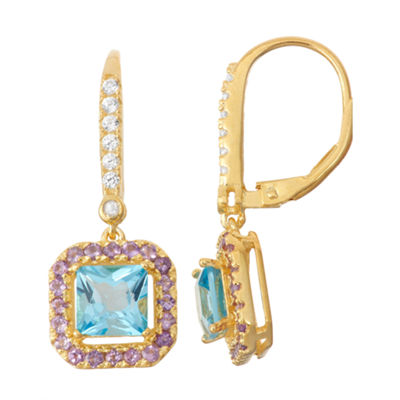 Genuine Swiss Blue Topaz & Amethyst Diamond Accent 14K Gold Over Silver Leverback Earrings
