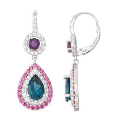 Genuine London Blue Topaz & Amethyst Sterling Silver Leverback Earrings
