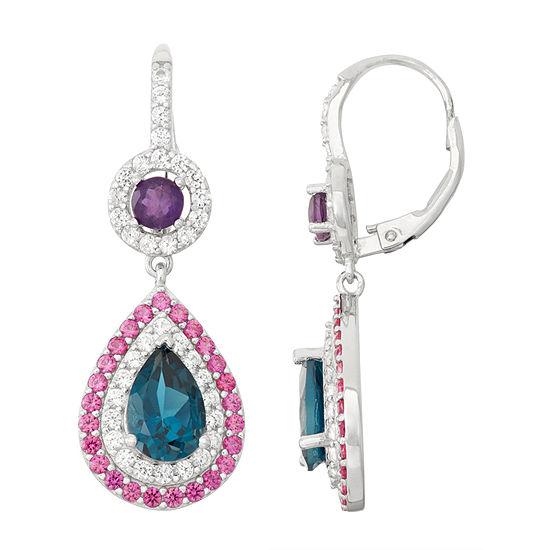 Genuine London Blue Topaz & Amethyst Sterling Silver Leverback Earrings