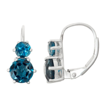 Genuine London Blue Topaz Sterling Silver Leverback Earrings