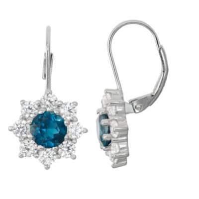 London Blue Topaz & Lab-Created White Sapphire Sterling Silver Leverback Earrings