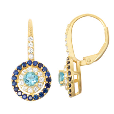 Genuine Blue Topaz  & Lab-Created White Sapphire 14K Gold Over Silver Leverback Earrings