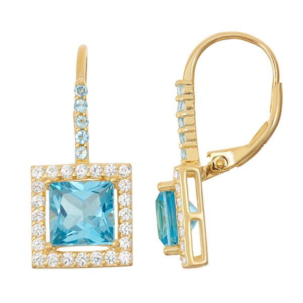 Genuine Blue Topaz 14K Gold Over Silver Leverback Earrings