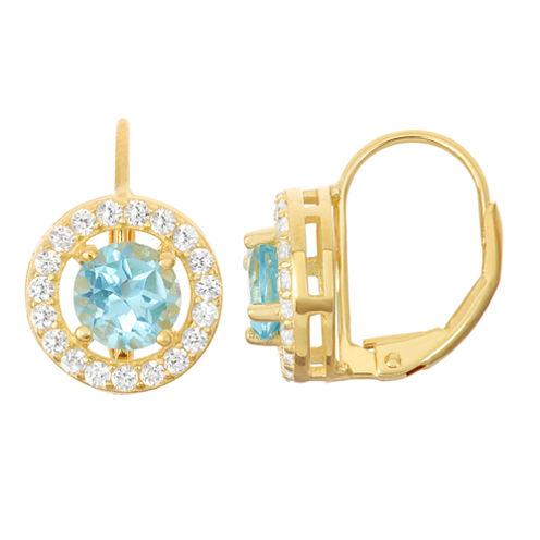 Genuine Swiss Blue Topaz & Lab-Created White Sapphire 14K Gold Over Silver Leverback Earrings