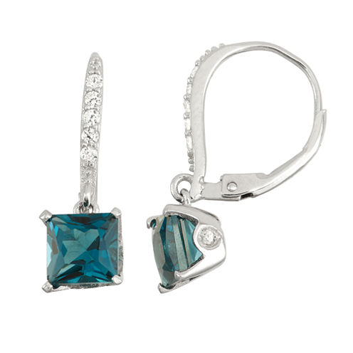 Genuine London Blue Topaz & Diamond Accent Sterling Silver Leverback Earrings