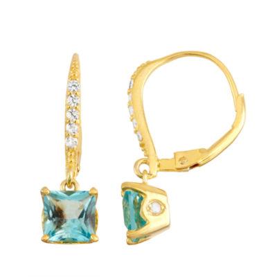 Genuine Blue Topaz Diamond Accent 14K Gold Over Silver Leverback Earrings