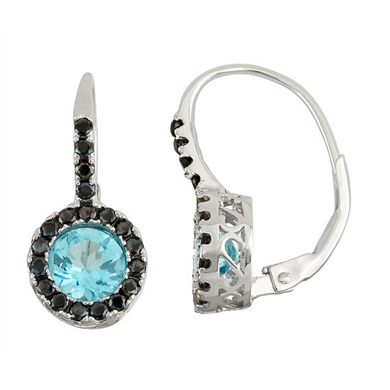 Genuine Blue Topaz Lab Created Black Spinel Sterling Silver Earrings