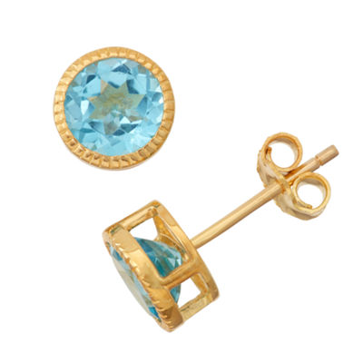 Genuine Swiss Blue Topaz 14K Gold Over Silver Stud Earrings