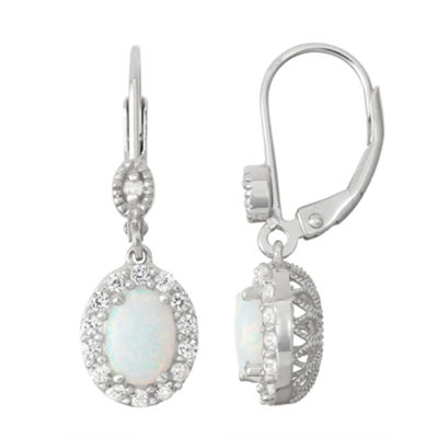Lab-Created Opal & White Sapphire Sterling Silver Diamond Accent Leverback Earrings