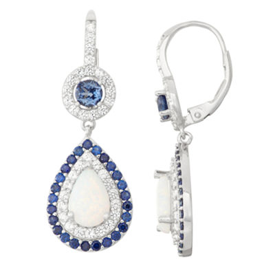 Lab-Created Opal & Sapphire Silver Leverback Earrings