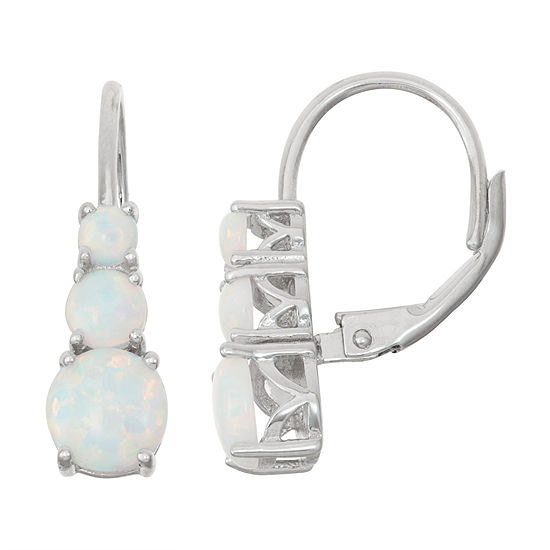 Lab Created Opal Sterling Silver Leverback Earrings
