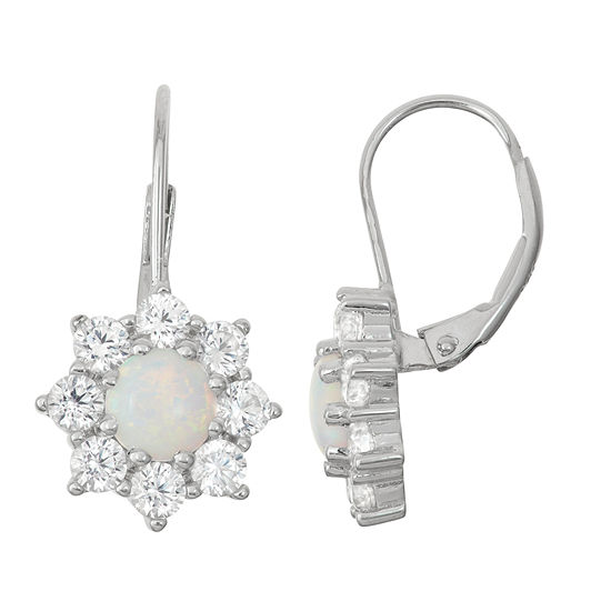 Lab-Created Opal & White Sapphire Sterling Silver Leverback Earrings