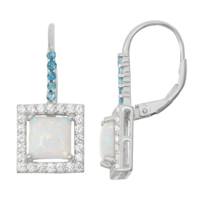 Lab-Created Opal & Genuine London Blue Topaz Sterling Silver Leverback Earrings