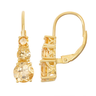 Genuine Citrine 14K Gold Over Silver Leverback Earrings