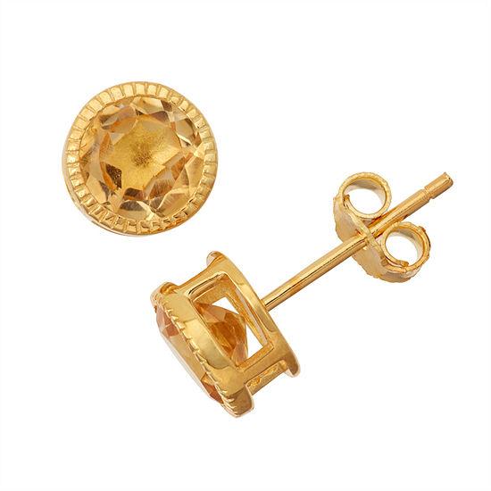 Genuine Citrine 14K Gold Over Silver Stud Earrings