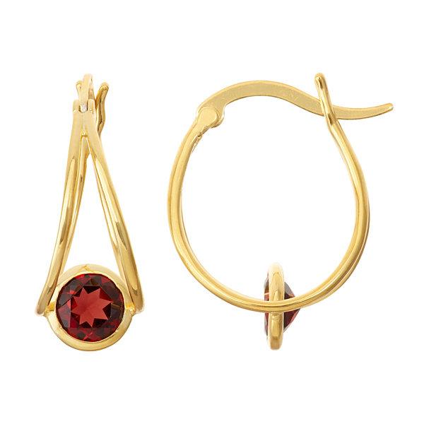 Genuine Garnet 14k Gold Over Silver Hoop Earrings