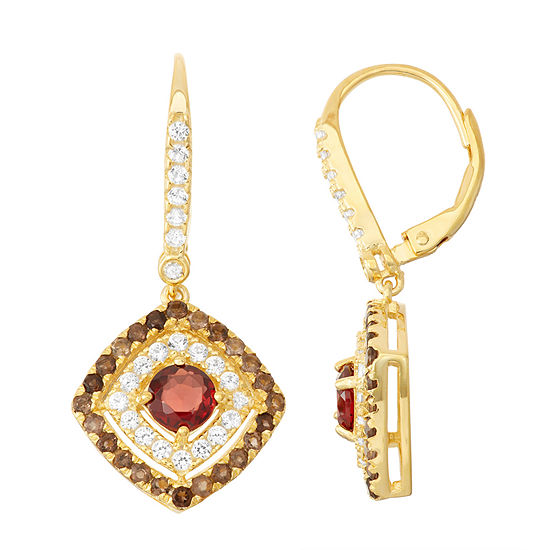 Genuine Garnet & Smoky Quartz Diamond Accent 14K Gold Over Silver Leverback Earrings