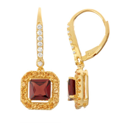 Genuine Garnet & Citrine Diamond Accent 14K Gold Over Silver Leverback Earrings