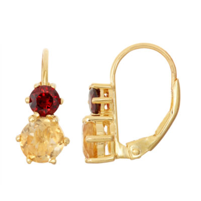 Genuine Garnet & Citrine 14K Gold Over Silver Leverback Earrings