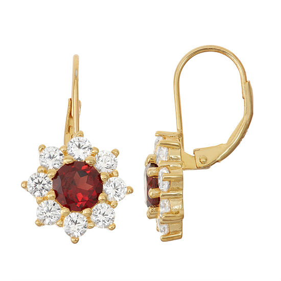Genuine Garnet & Lab-Created White Sapphire 14K Gold Over Silver Earrings