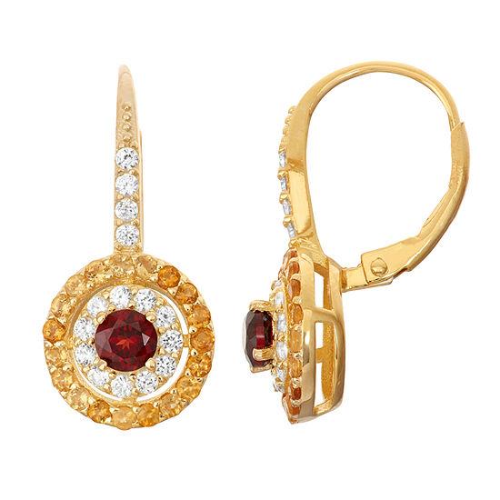 Genuine Garnet & Citrine 14K Gold Over Silver Leverback Earrings