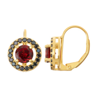 Lab-Created Garnet & Genuine Black Spinel 14K Gold Over Silver Leverback Earrings