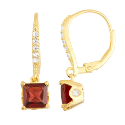 Genuine Garnet Diamond Accent 14K Gold Over Silver Leverback Earrings